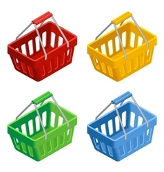 Shopping basket icon set colorful shopping basket vector