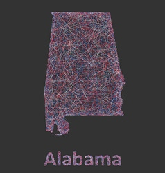 Colorful line art map of alabama state vector