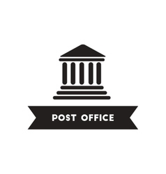 Flat icon in black and white style building post vector