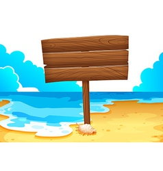 An empty wooden signboard at the sea vector