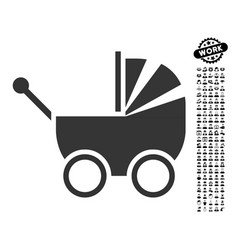 Baby carriage icon with professional bonus vector