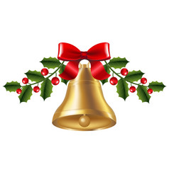 bell with holly berry vector image vector image