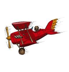 biplane cartoon vector image vector image