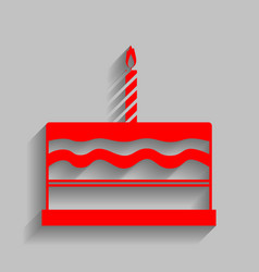 Birthday cake sign red icon with soft vector