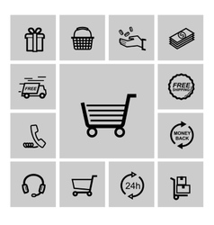 black shopping icons vector image