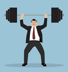 businessman lifting a heavy weight vector image