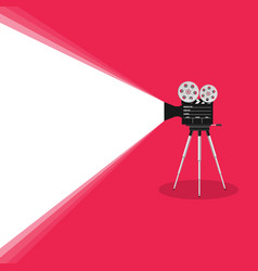 Camera old movie on pink background vector