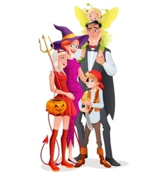 Cartoon halloween family vampire witch vector