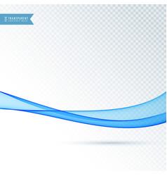 Flowing blue transparent wave background vector