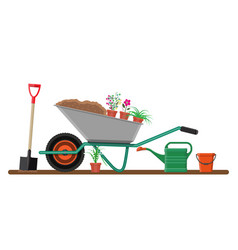 formal garden with wheelbarrow flowers shovel vector image vector image