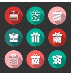 Gift boxes icons set over black vector