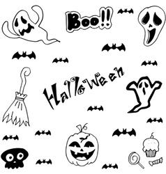 Halloween characters doodle set vector