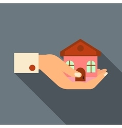 Hand holding house icon flat style vector image vector image