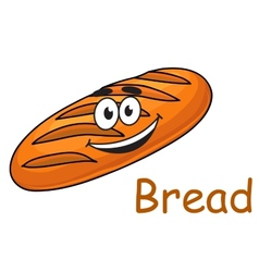 Happy cartoon crusty loaf of bread vector image