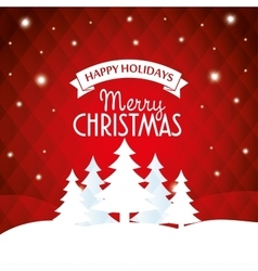 happy holidays merry christmas greeting white tree vector image