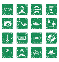 Hipster icons set grunge vector
