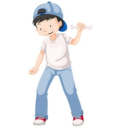 Little boy holding bone in hand vector