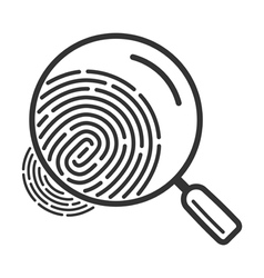 Magnifying glass icon over fingerprint vector image