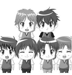 Monochrome set silhouette half body cute anime vector