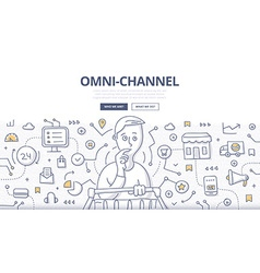 Omni-channel doodle concept vector