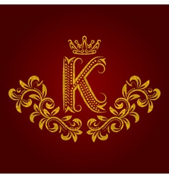 Patterned golden letter K monogram in vintage vector image vector image