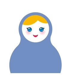 Russian dolls matryoshka on white background blue vector
