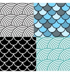 Seamless Fish Scale Pattern Set vector image