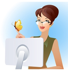 Secretary and butterfly vector image vector image