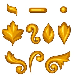 Set of baroque ornamental floral gold elements vector