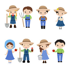 Set of farmer girls and boys set of farmer girls vector