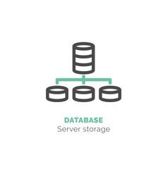 Simple icon of database flat bicolor line design vector