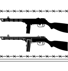 Soviet machine gun stencil and silhouette vector
