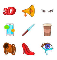 Thriller icons set cartoon style vector