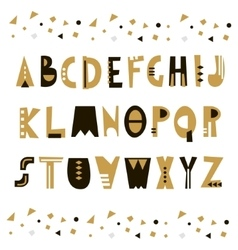 Trendy unusual geometric alphabet abstract vector
