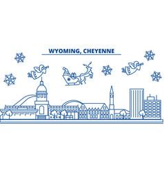 usa wyoming cheyenne winter city skyline merry vector image