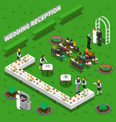 Wedding reception isometric composition vector