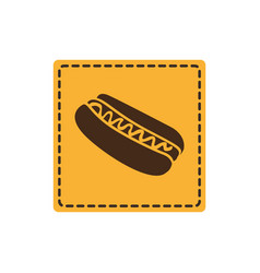Yellow emblem hot dog icon vector