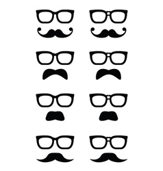 Geek glasses and moustache or mustache icon vector