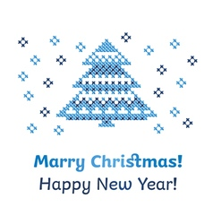 Peasant folk rustic motif of christmass tree cross vector