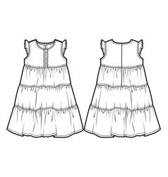 Tech sketch of a summer dress vector
