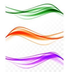 abstract elegant wavy bright lines set vector image