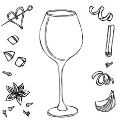 Red vine glass hand drawn vector