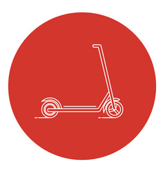 Line art style kick scooter icon vector