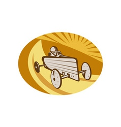 Soap box derby car racing with sunburst vector