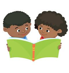 Cartoon kids reading book african africa vector