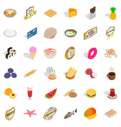 Yummy food icons set isometric style vector