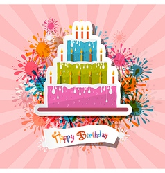 Retro Pink Birthday Background with Cake vector image