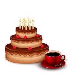 Background with birthday chocolate cake and a cup vector