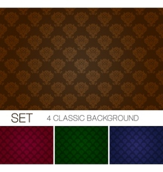 Set of seamless background with Damascus ornament vector image