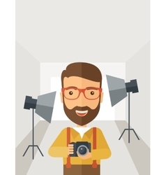 Photographer inside his studio vector